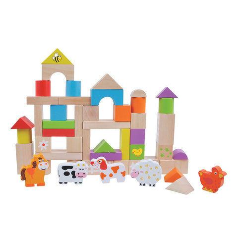 Jumini Wooden Farm Building Blocks 50 Piece
