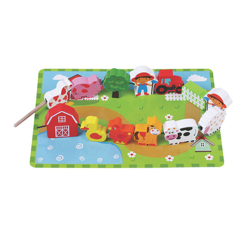 Jumini Wooden Farm Lacing  Game