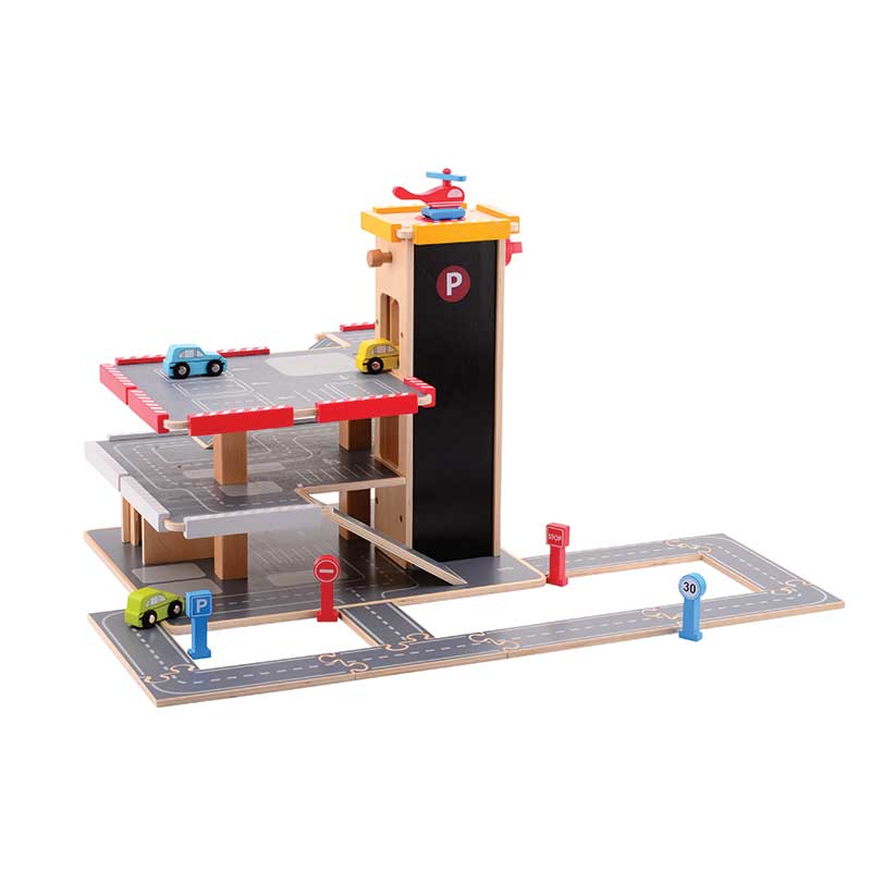 Jumini Wooden Toys Multistory Garage and Accessories