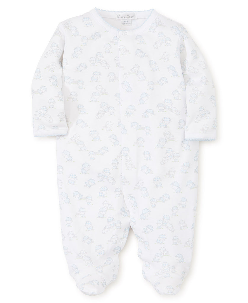 Kissy Kissy Pima Cotton Ba Ba Babies Footie, Blue