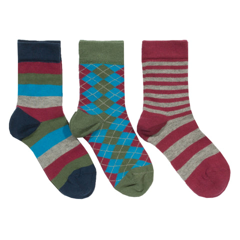 Kite Boys Socks 3 Pair Pack Argyle