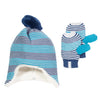 Kite Knitted Stripy Hat and Mittens Set Blue