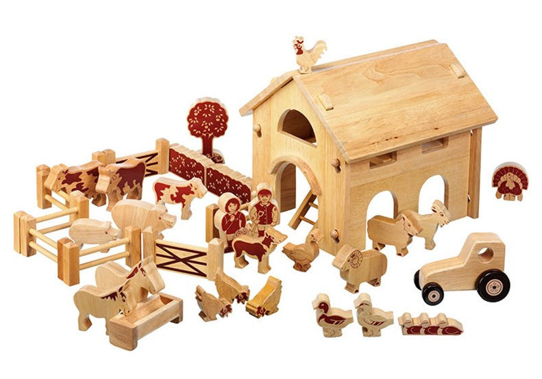 Lanka Kade Fairtrade Deluxe Wooden Barn + Farm Set