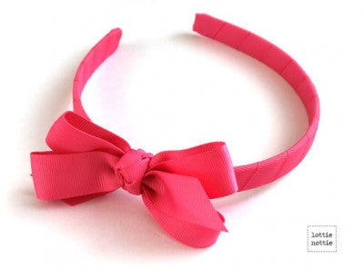Lottie Nottie Alice Bands-Plain Hot Pink