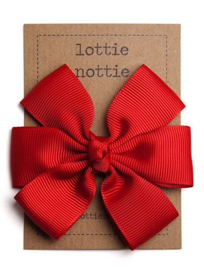 Lottie Nottie Big Bow Hair Clip, Red