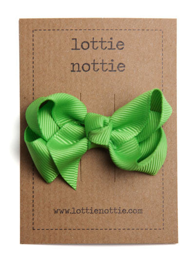 Lottie Nottie Twisted Bow Hair Clip, Apple Green