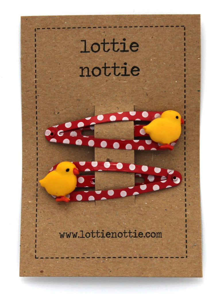 Lottie Nottie Chicks on Red Spotty Hair Clips
