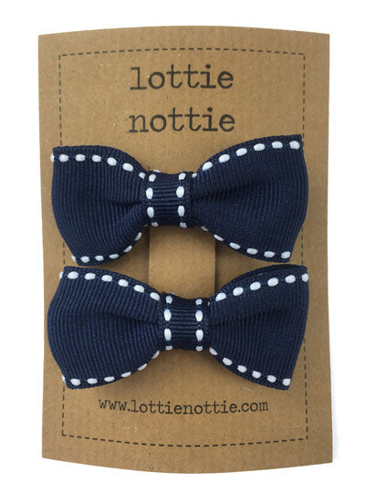 Lottie Nottie Stitch Bow Hair Clips- Navy