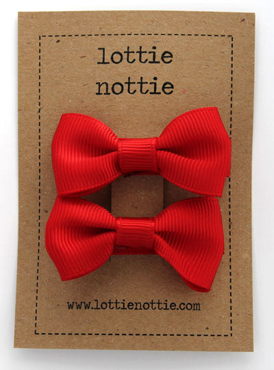 Lottie Nottie Solid Bow Hair Clips - Red