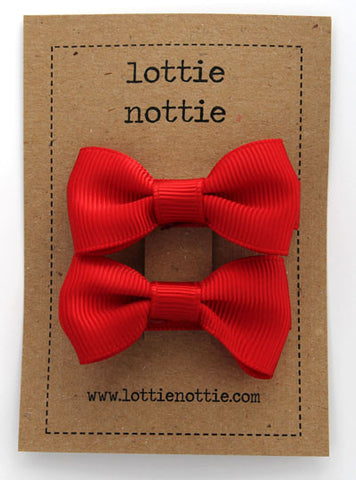 Lottie Nottie Solid Bow Hair Clips-red