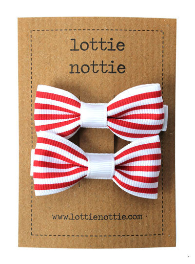 Lottie Nottie Stripey Bows Hair Clips - Red
