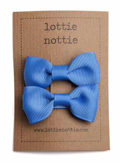 Lottie Nottie Solid Bow Hair Clips- French Blue