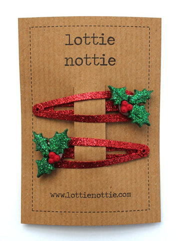 Lottie Nottie Christmas Hair Clips Holly on Red Sparkle