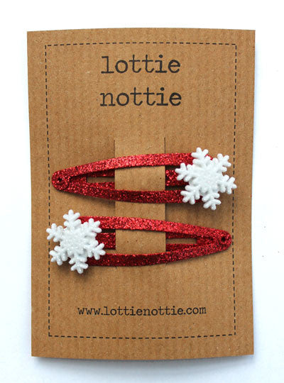 Lottie Nottie Christmas Snowflakes on Red Sparkle Clips