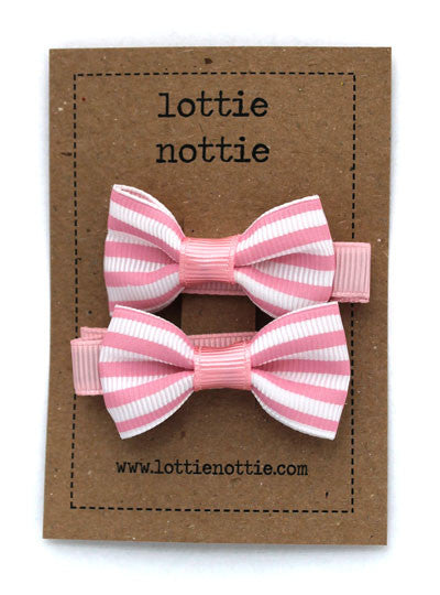 Lottie Nottie Stripey Bows Hair Clip-pink