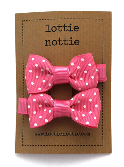 Lottie Nottie Swiss Dot Bows hair Clips-Mid Pink