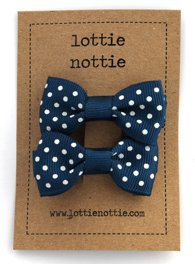 Lottie Nottie Swiss Dot Bows hair Clips- Navy