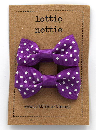 Lottie Nottie Swiss Dot Bows hair Clips- Purple