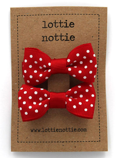 Lottie Nottie Swiss Dot Bows Hair Clips- Red
