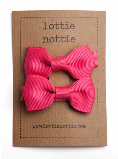 Lottie Nottie Solid Bow Hair Clips- Bright Pink