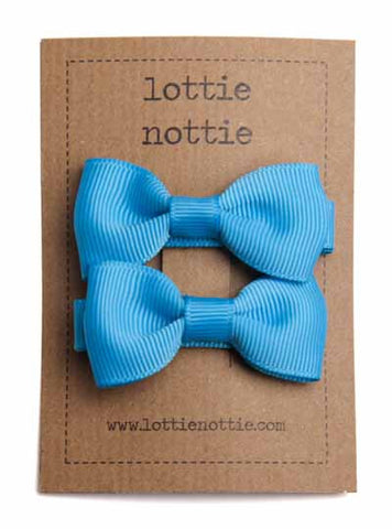 Lottie Nottie Solid Bow Hair Clips- Turquoise