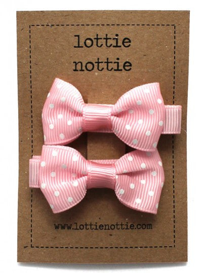 Lottie Nottie Swiss Dot Pink Bow Hairclips