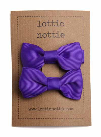 Lottie Nottie Solid Bow Hair Clips- Purple