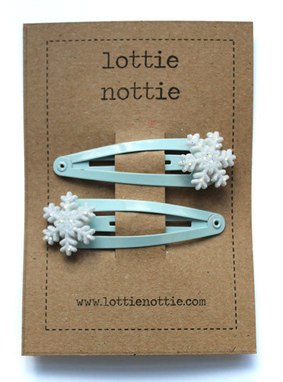 Lottie Nottie Christmas Hair Clips Snowflakes on Blue Clips