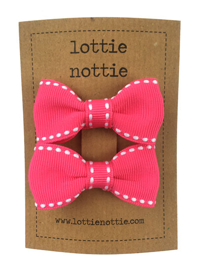 Lottie Nottie Stitch Bow Hair Clips- Bright Pink