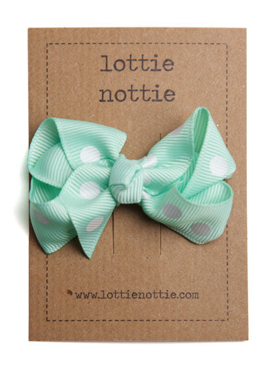 Lottie Nottie Twisted Bow Hair Clip, Mint Green Polka Dots