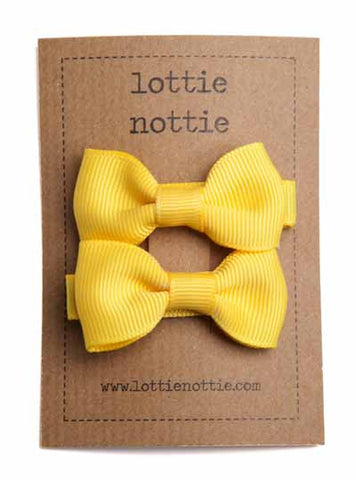 Lottie Nottie Solid Bow Hair Clips- Bright Yellow