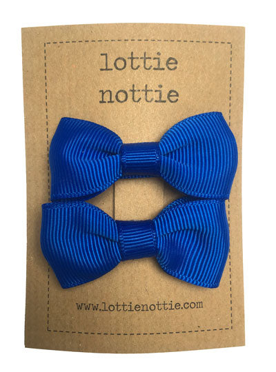 Lottie Nottie Solid Bow Hair Clips- Royal Blue