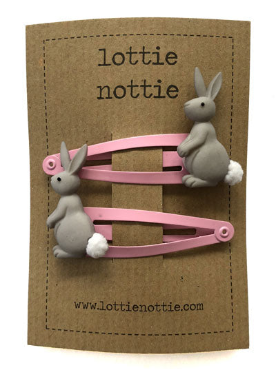 Lottie Nottie Bunnies on Pink Hair Clips