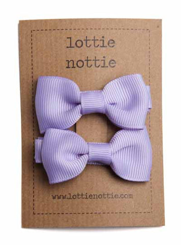 Lottie Nottie Solid Bow Hair Clips- Lilac