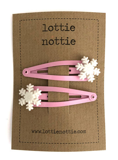 Lottie Nottie Christmas Hair Clips Snowflakes on Pink Clips