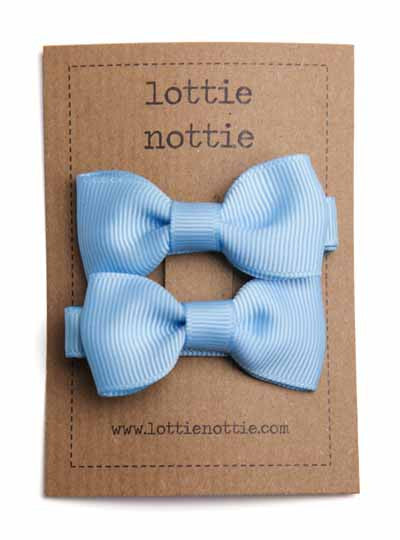 Lottie Nottie Solid Bow Hair Clips- Light Blue