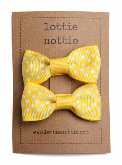 Lottie Nottie Swiss Dot Bows Hair Clips- Bright Yellow