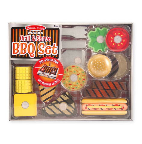 Melissa & Doug Wooden Grill & Serve Barbeque Set