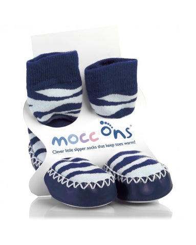 MoccOns Slipper Socks Zebra Stripe