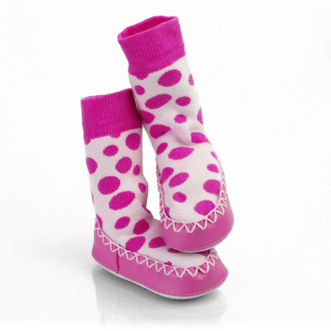 Mocc Ons Slipper Socks Pink spot