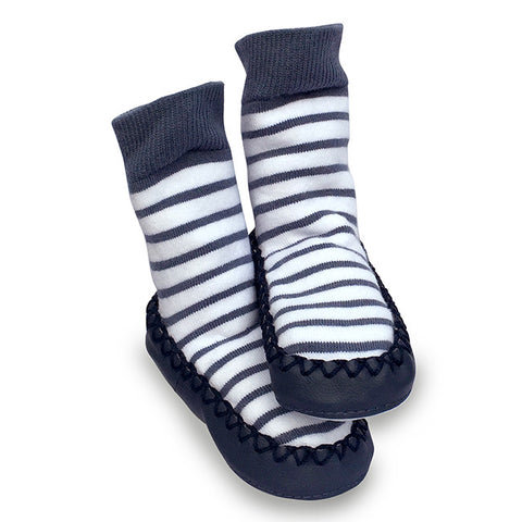 Mocc Ons Slipper Socks Nautical Stripes