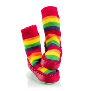 MoccOns Slipper Socks Rainbow Stripe