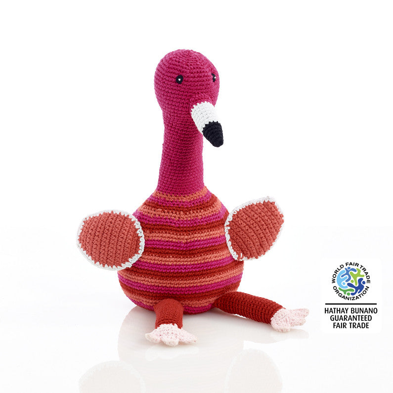 Pebble Fairtrade Crochet Large Flamingo Toy