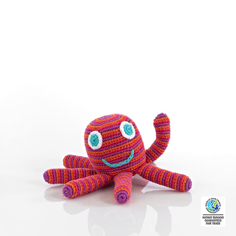 Pebble Fairtrade Crochet Octopus Rattle-Pink and Red