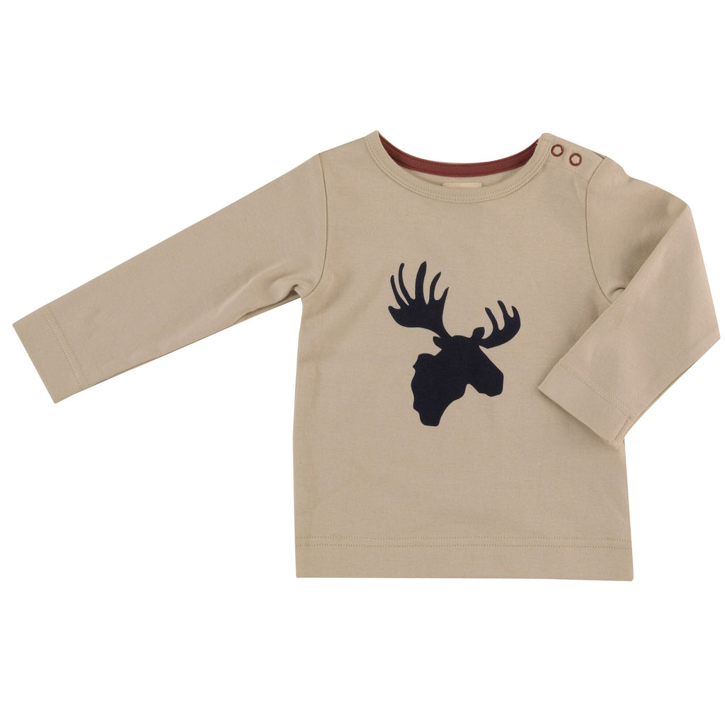 Pigeon Organics T Shirt Moose Head Ink Blue on Pumice