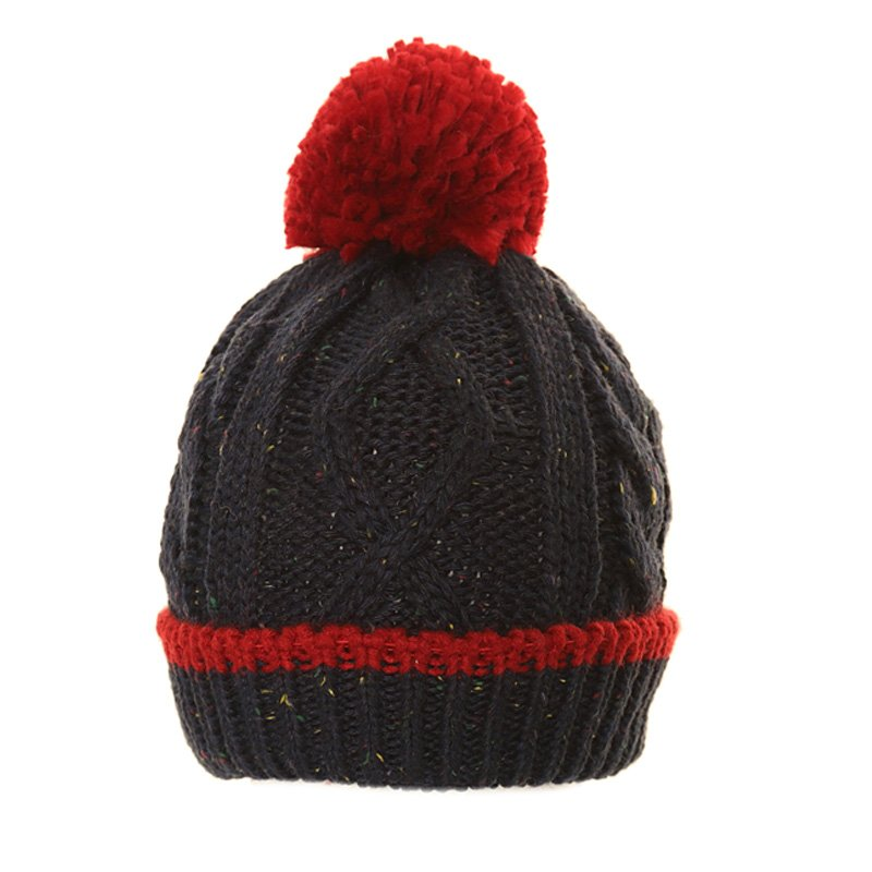 Speckled Knitted Bobble Hat Navy