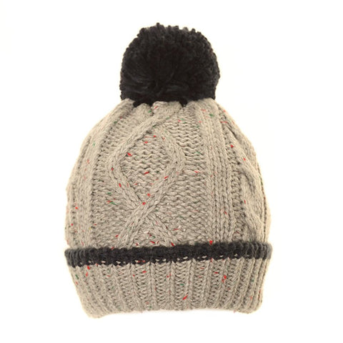 Speckled Knitted Bobble Hat Grey