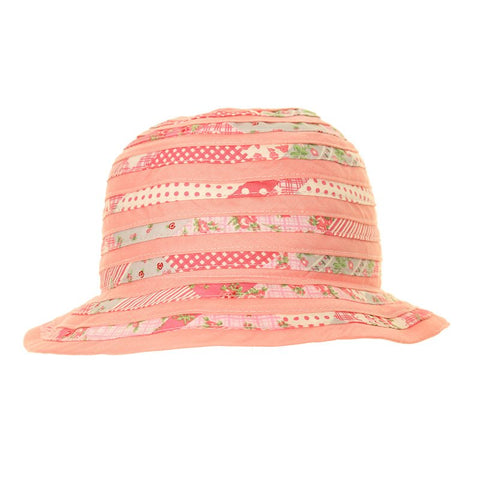 Swirled Cotton Sun Hat Coral Pink