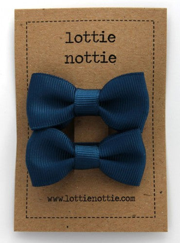 Lottie Nottie Solid Bow Hair Clips-navy