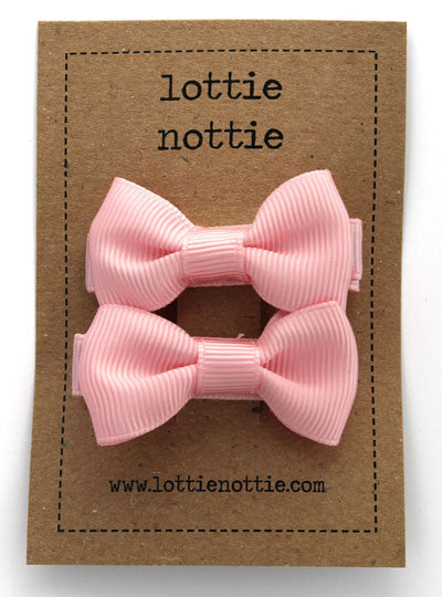 Lottie Nottie Solid Bow Hair Clips-Pink